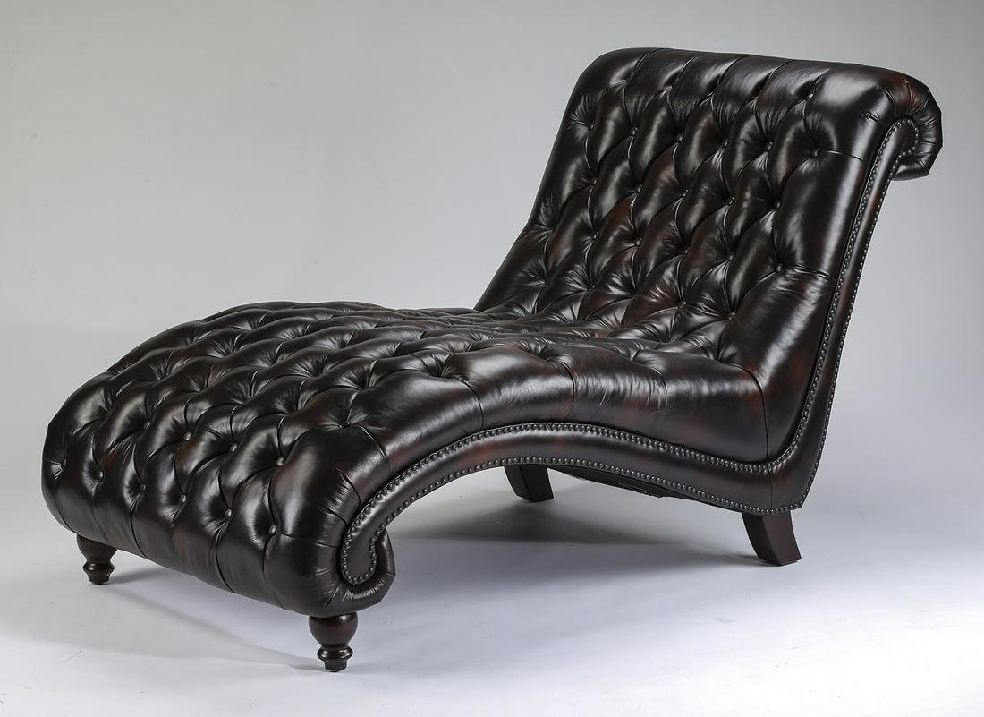 Ralph Lauren style tufted leather chaise