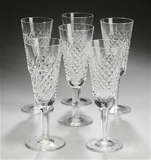 (6) Waterford Alana crystal champagne flutes