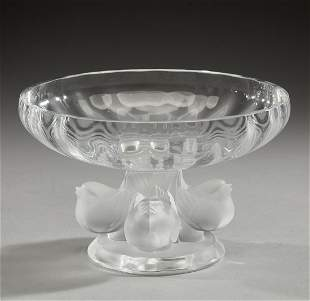 Lalique frosted crystal 'Nogent' compote, marked