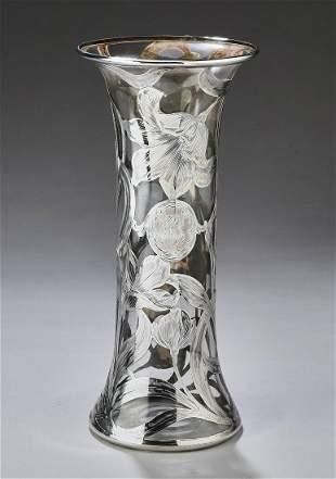Alvin Mfg Art Nouveau fine silver overlay vase