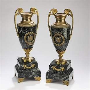 (2) 19th c. Neoclassical style marble and bronze urns