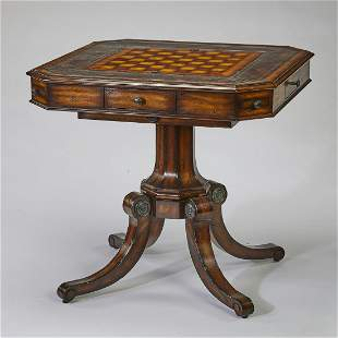 Maitland Smith distressed leather top games table