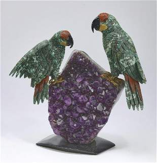 Semi-precious stone carved sculpture of parrots