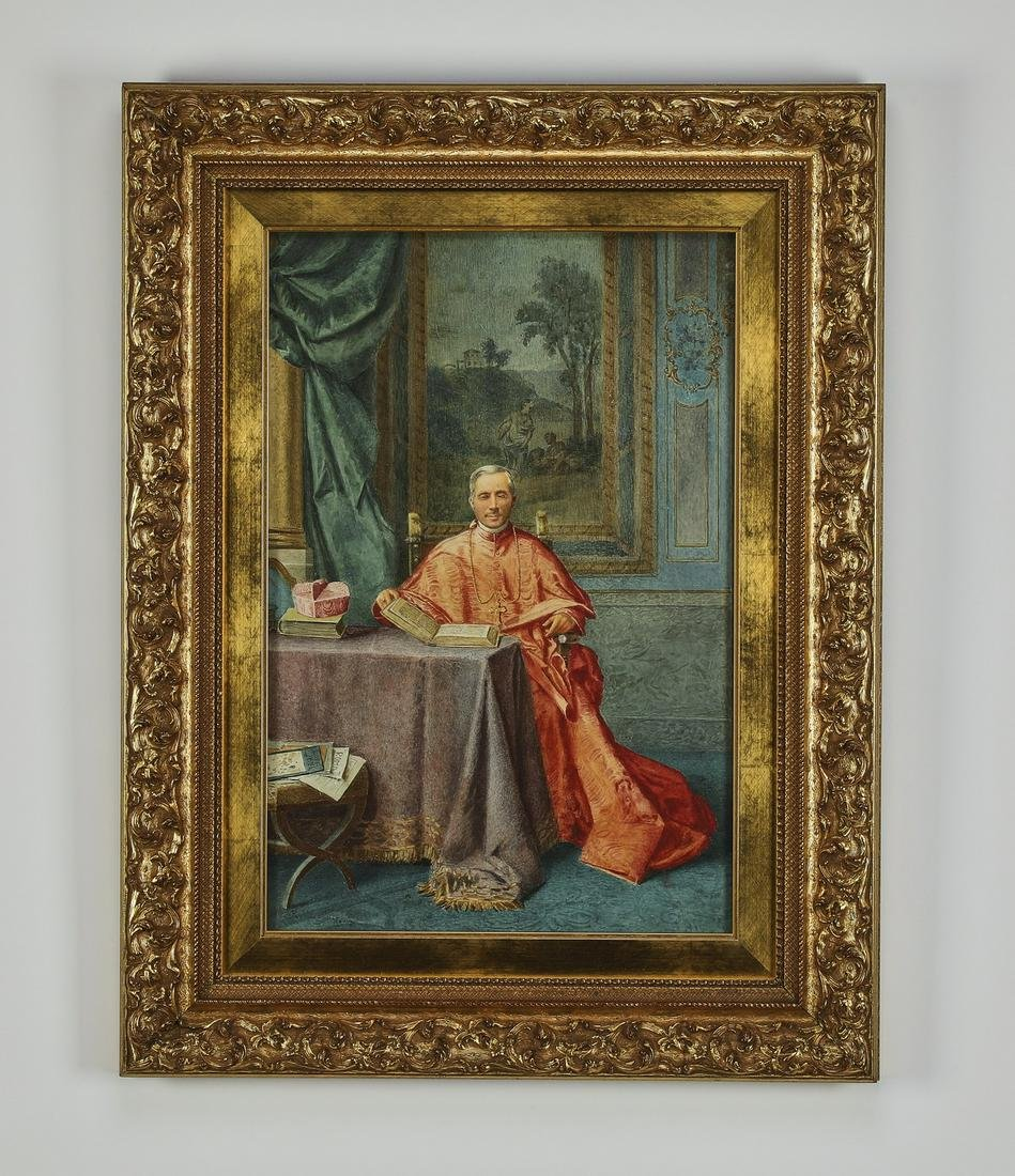 19th c signed Continental W/c portrait of a cardinal