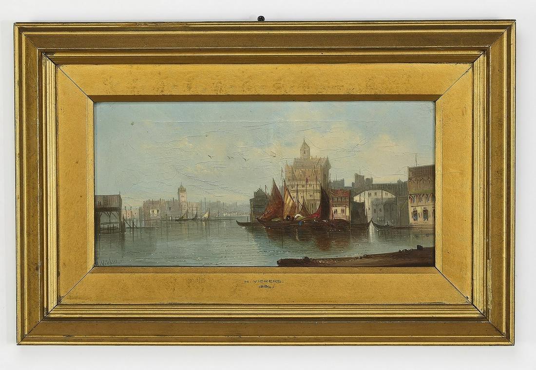 H. Vickers signed O/c harbor scene, 1884