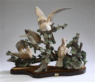 Monumental Lladro porcelain 'Group of Turtle Doves'