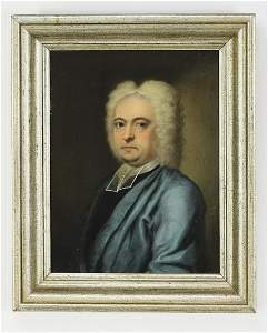 John T. Heins signed O/c clergy portrait, 1728