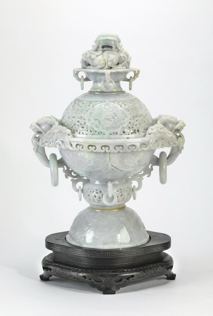 "Chinese lavender and celadon jade dragon censer, 20""h"