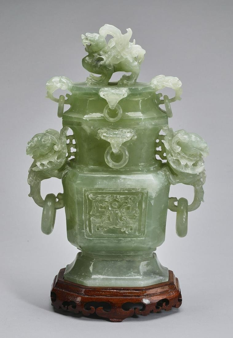 "Chinese carved celadon jade covered urn, 14""h"