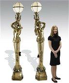 (2) Gilt bronze figural maiden torchieres