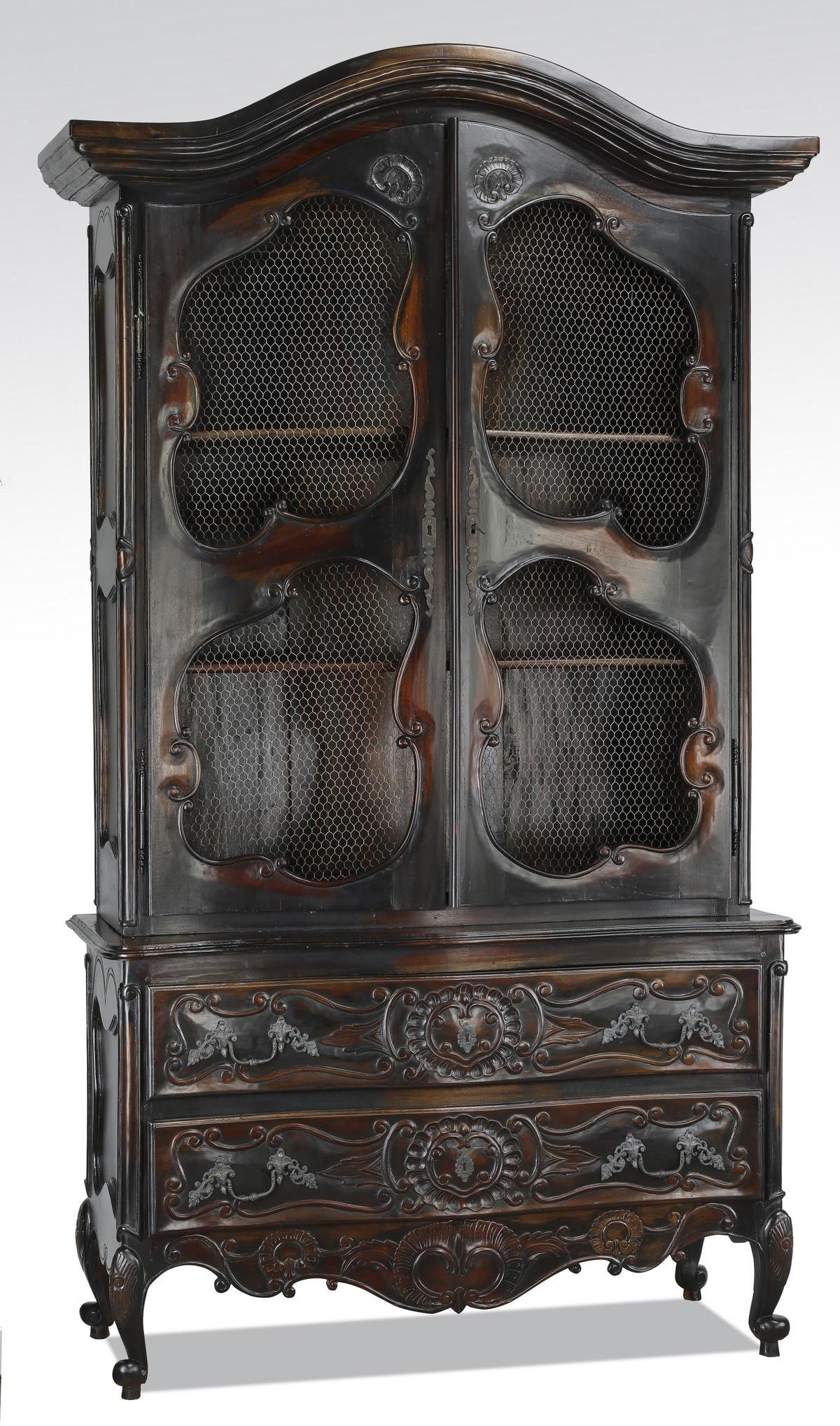 French Provincial style ebonized cabinet w/ wire mesh