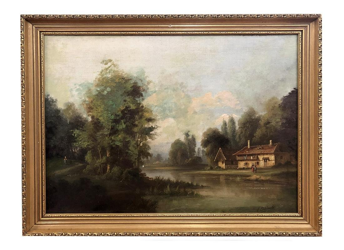 19th c. O/c stone house near a lake, signed