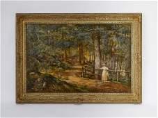 Signed August Laux (German, 1853-1921) O/c landscape
