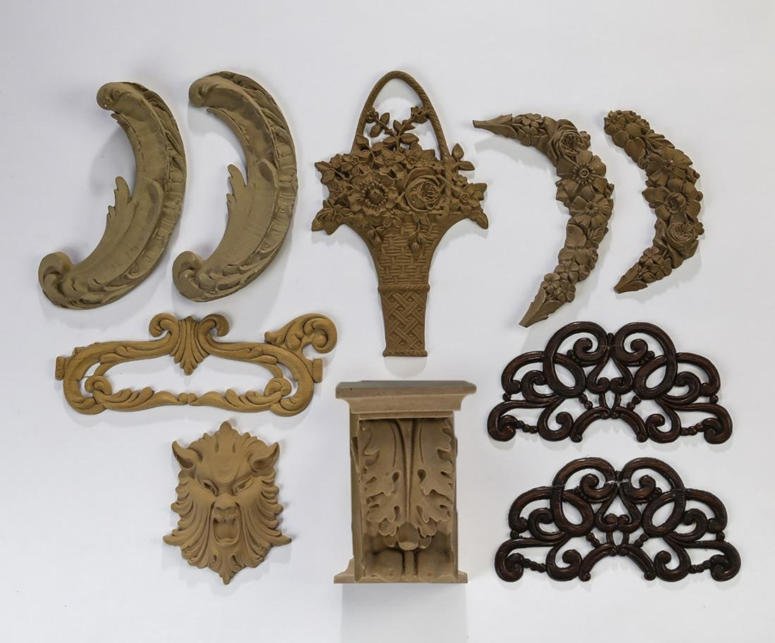 Group of (10) Continental decorative elements