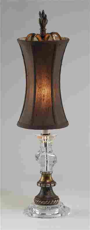 Petite contemporary task lamp w silk shade 24h