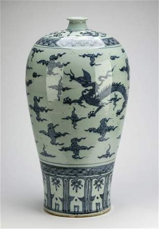 Chinese meiping vase with Ming style dragons
