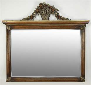 Carved mahogany wall mirror with beveled glass 77w