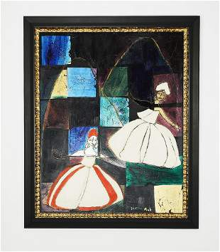 Signed Gregory Fink acrylic and gold leaf abstract