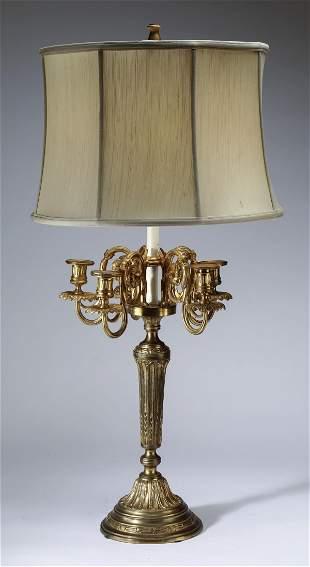 Regency style gilt bronze candelabrum lamp 37h