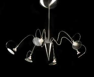 Contemporary chrome and glass chandelier 34h