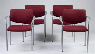 Set of 4 Steelcase open armchairs 30h