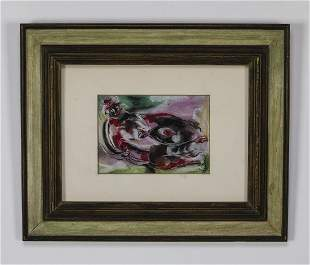 William Jacobs signed gouache of reclining nude