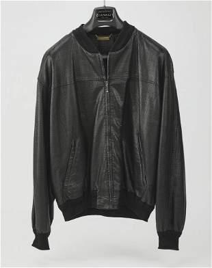 Black pin prick leather varsity jacket by LaMatta