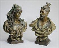 (2) Friedrich Goldscheider terracotta busts c. 1897