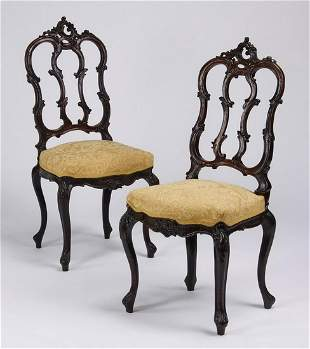 2 19th c French Rococo style carved oak chairs