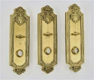 3 19th c bronze door plates 10h