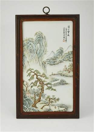 Chinese famille rose landscape plaque