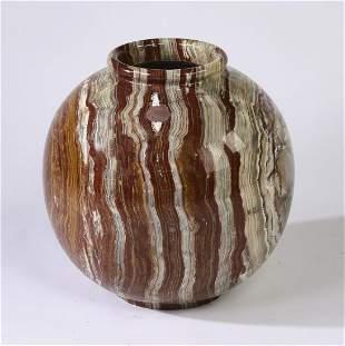 Onyx spherical form vase 17h