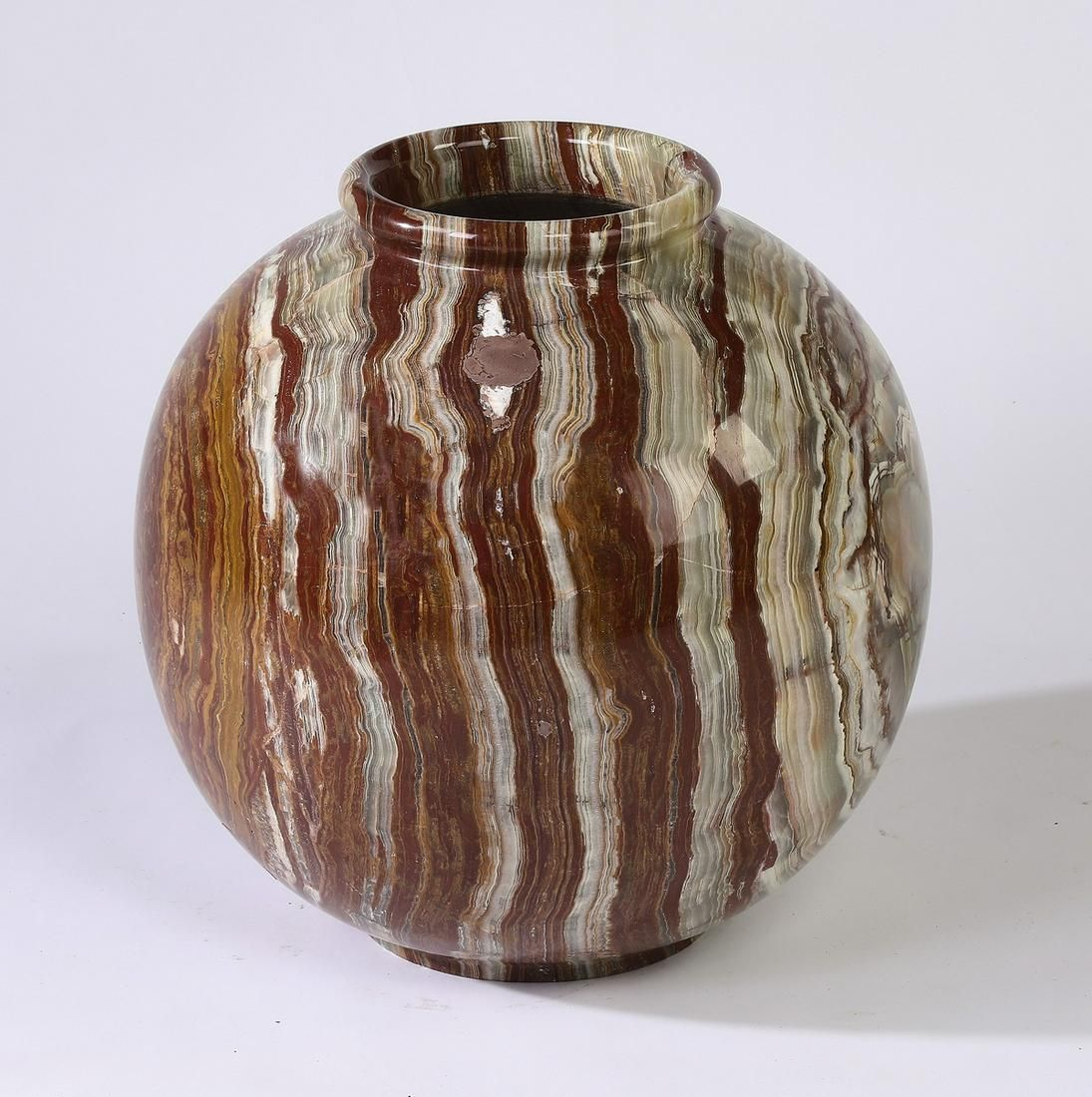 "Onyx spherical form vase, 17""h"