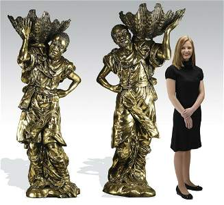 "(2) Gilt bronze blackamoor jardinieres, 74""h"