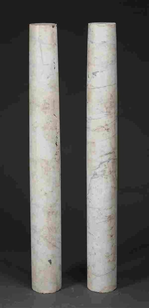 """(2) Continental carved marble columns, 52""""h"""