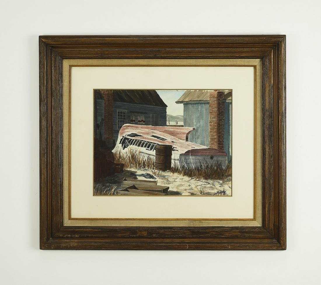 Early 20th c. boat yard W/c, signed