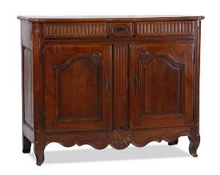 19th c French Provincial carved chestnut buffet