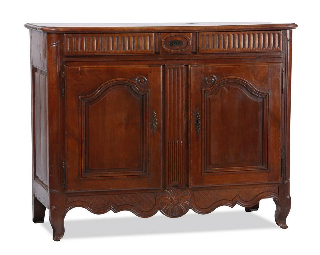 19th c. French Provincial carved chestnut buffet