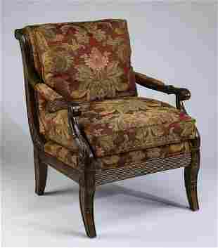 Sheraton style upholstered armchair by Wesley Hall
