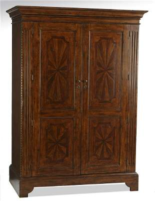 Federal inspired armoire w paint decorated paterae