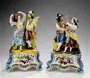 (2) German porcelain figural groupings of peasants