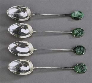 4 Chinese 800 silver demitasse spoons w hardstone