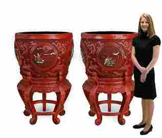 (2) Monumental Chinese carved cinnabar pots on stands