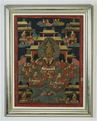 Tibetan Thangka of the Maitreya Buddha