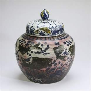 Chinese Ming style lotus pond lidded jar