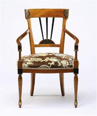 Custom upholstered Sheraton style mahogany armchair