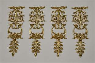 4 Italian gilt bronze decorative appliques 13h