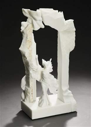 Contemporary marble sculpture w artist monogram