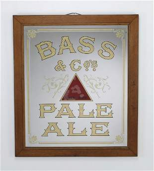 Early 20th c Bass Co Pale Ale advertising mirror