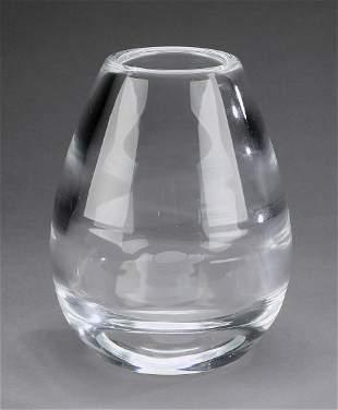 Steuben modernist crystal vase, marked